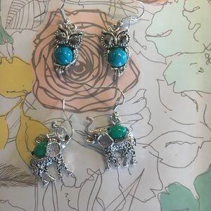 2 pair Silver Animal Earrings *NEW*